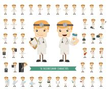 set of doctor characters poses - stock illustration