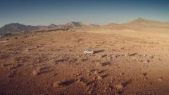 Lateral aerial view of a moving 4 by 4 car  through an arid land. Spain. 4k Stock Footage