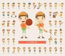 set of boy character collection - stock illustration