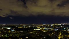 4K motion control pan night timelapse overview Athens skyline winter Stock Footage