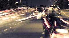 4K Athens city night street traffic light streaks highway timelapse Stock Footage