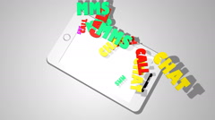 words emission through phone screen - stock footage