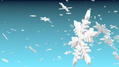 3d snowflakes flying on blue sky backdrop - stock footage