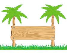 Wooden board and palms Stock Illustration