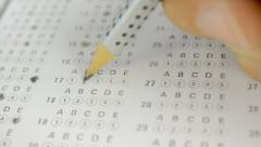 Close-up of a test answer sheet - stock footage