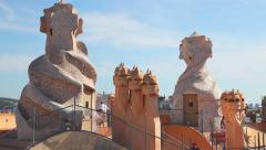 Barcelona, Casa Mila surrealistic roof Stock Footage