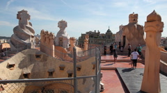 Casa Mila roof details, Barcelona Stock Footage