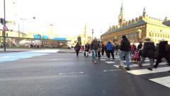 A crowdy pedestrian crossing in Copenhagen - stock footage