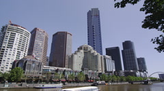 Melbourne Skyline Along Yarra River Stock Footage