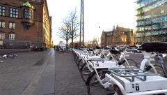 Finding the intelligent city bikes in Copenhagen Stock Footage