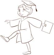 Stock Illustration of A drawing of a person graduating