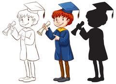 A boy graduating - stock illustration