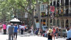 Stock Video Footage of La Rambla Barcelona Spain