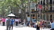 Stock Video Footage of La Rambla Barcelona Spain