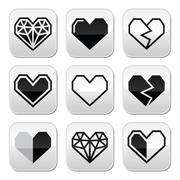 Geometric heart for Valentine's Day grey square buttons - stock illustration