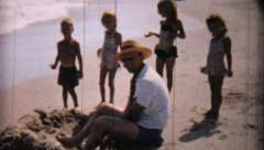 Man Enjoys Time At The Beach-1958 Vintage 8mm film Stock Footage