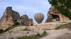 Cappadocia hot air balloons flight, tour, journey, Turkey, color, hoodoo Stock Footage