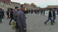 Custodians at Forbidden City Stock Footage