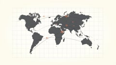 Global connection on the world map, planes Stock Footage