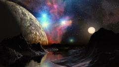 Huge planet and a bright nebula in the background dreamscape Stock Footage