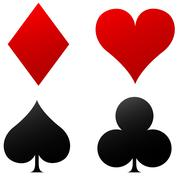 Four playing cards icons Stock Illustration