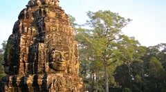 Ancient religious monument at bayon temple, cambodia Stock Footage
