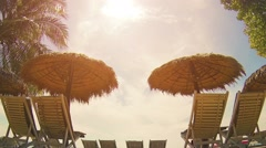 Beach chairs at a tropical resort in sihanoukville Stock Footage