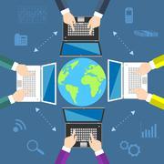 Teamwork. Concept of global business communication Stock Illustration