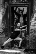 Beautiful couple of professional artists dancing Stock Photos