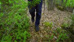 Man's legs and feet walking through the rainforest Stock Footage