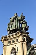 statue of johannes gutenberg, inventor of book printing, frankfurt, germany - stock photo