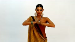 Caucasian woman dancing in Indian style Arkistovideo