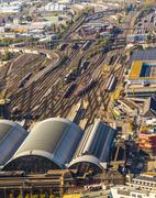 Aerial of the hauptbahnhof in afternoon Stock Photos
