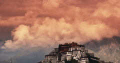 4k Potala Palace in the morning,Lhasa,Tibet.timelapse red clouds. - stock footage
