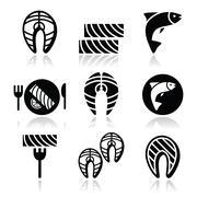 Salmon fish and meal - food icons set Piirros