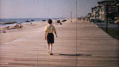 Woman On Honeymoon Walks On Boardwalk-1958 Vintage 8mm film Stock Footage