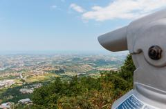 spyglass on a mountain in san marino - stock photo