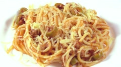 Pasta with meat sauce Stock Footage