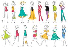 women in modern fashion clothes isolated on white.vector illustration - stock illustration