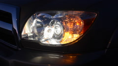 Automobile headlight and blinker - stock footage