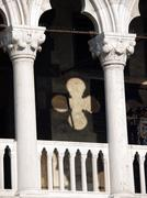 venice - tracery from the doge's palace, one of venice symbol - stock photo