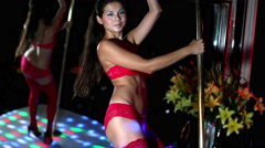 Pole dancer erotic sexy gogo cabaret striptease 4k Stock Footage
