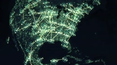 Digital Data Connection Map Stock Footage