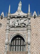 venice - doges palace facade seen from st mark's square - stock photo