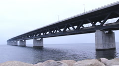 "Famous ""The Bridge""  Oresund Sea Bridge Stock Footage"