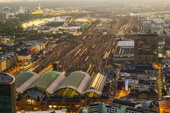 Aerial of the hauptbahnhof in frankfurt an main  in the evening Stock Photos