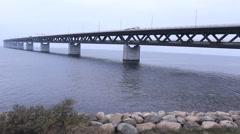 Depressive The Bridge  Oresund Sea Bridge - stock footage