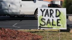 Yard sale sign Stock Footage
