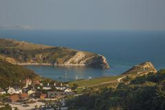 Lulworth Cove, Jurassic Coast, UNESCO World Heritage Site, Dorset, England, - stock photo