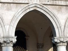 venice - arch from the colonnade of the palace of doges - stock photo